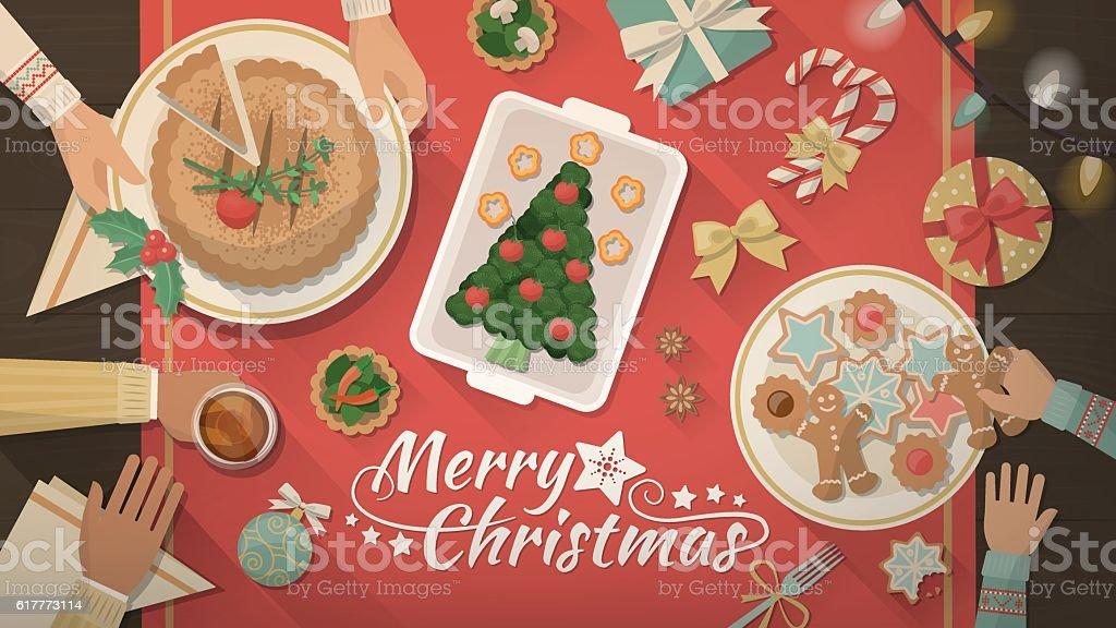 Familie Weihnachten zu Hause feiern – Vektorgrafik