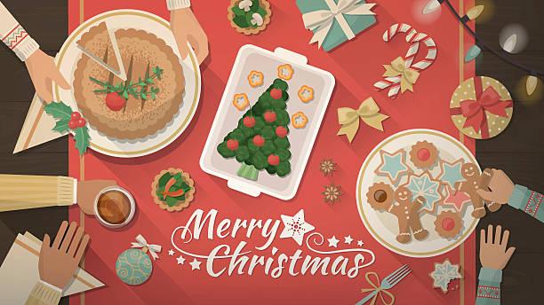 ilustrações de stock, clip art, desenhos animados e ícones de família celebrando o natal em casa - christmas table