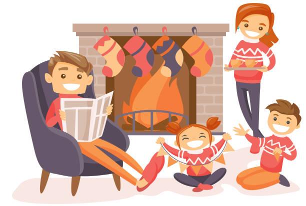 stockillustraties, clipart, cartoons en iconen met familie kerst vieren bij de open haard - family winter holiday
