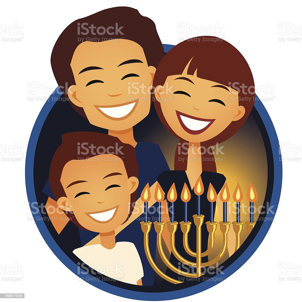 Family Celebrating Hanukkah royalty-free stock vector art