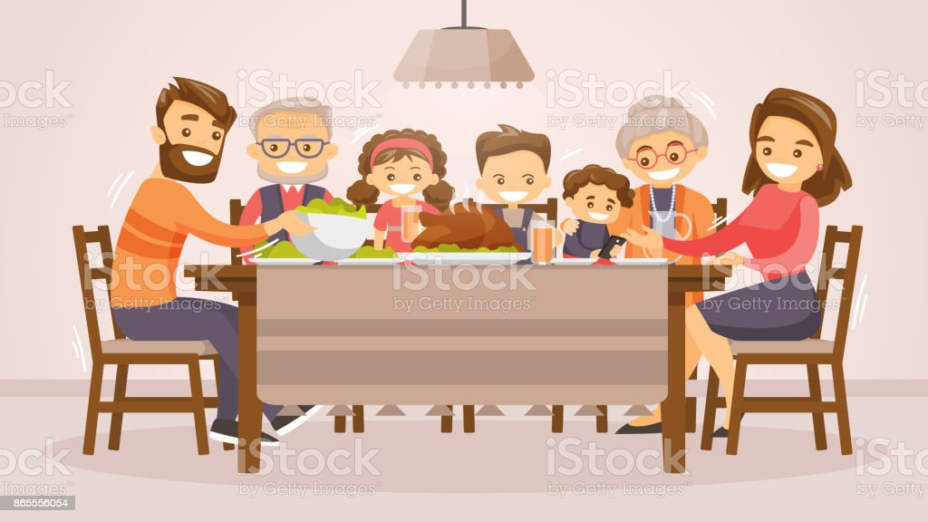 Family celebrating Thanksgiving Holiday card vector art illustration