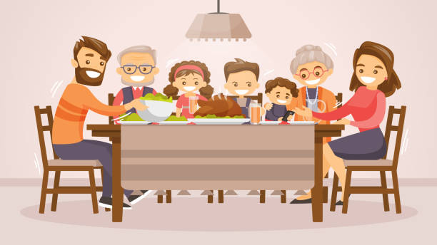 illustrazioni stock, clip art, cartoni animati e icone di tendenza di family celebrating thanksgiving holiday card - cena