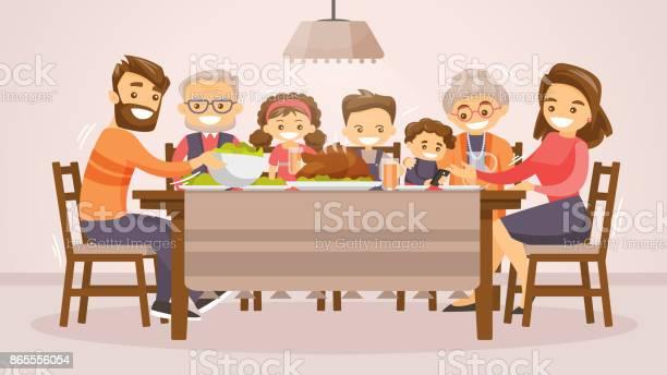 Family Celebrating Thanksgiving Holiday Card - Immagini vettoriali stock e altre immagini di Adulto