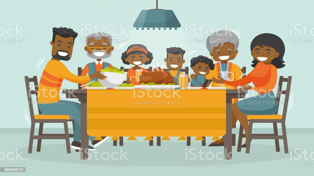 Family celebrating Thanksgiving Holiday card Christmas and Thanksgiving inspired winter Holiday card with african family enjoying Thanksgiving turkey at the table. Vector flat design family Holiday weekend illustration for poster, card, banner. Adult stock vector