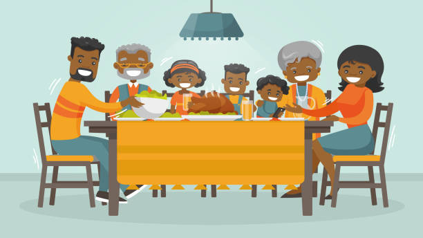 Family dinners and cooking stock illustrations