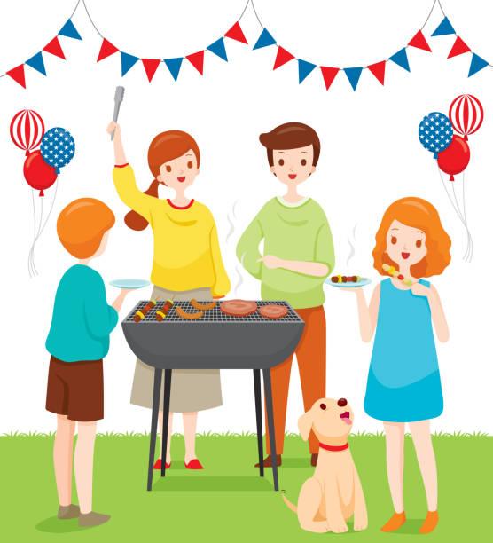 aile barbekü partisi ile birlikte kutluyor, temmuz bağımsızlık günü 4 - family 4th of july stock illustrations