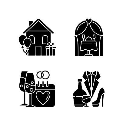 Family celebration black glyph icons set on white space