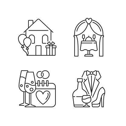 Family celebration linear icons set