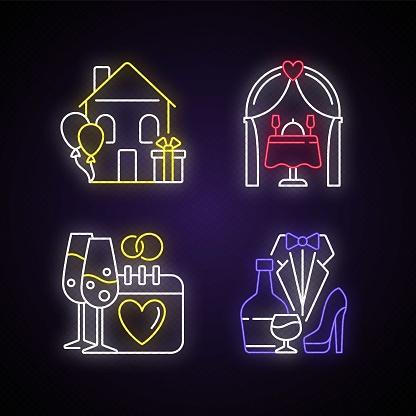 Family celebration neon light icons set