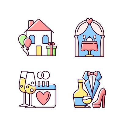 Family celebration RGB color icons set