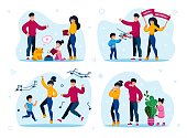 Family Holiday Celebrations and Entertainments Trendy Flat Vector Concepts Set. Parents with Children Feeding Cat, Giving Birthday Gift to Child, Happy Dancing, Playing in Hide-and-Seek Illustrations