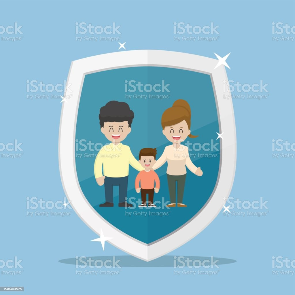 Family Character Inside The Insurance Shield Stock ...