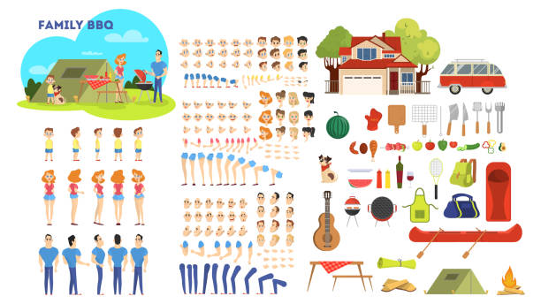 Family character on barbeque set vector art illustration