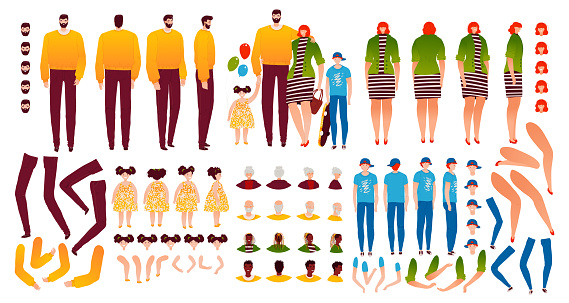 Family characters creation kit constructor with isolated legs, poses, faces, arms and parts of body for mother, father, children vector illustration.