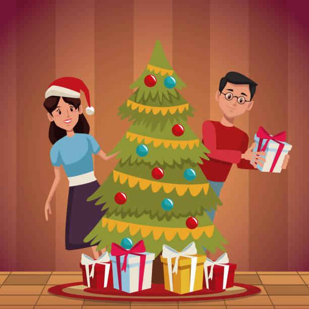 familie weihnachten cartoon - elternhochzeitsgeschenke stock-grafiken, -clipart, -cartoons und -symbole