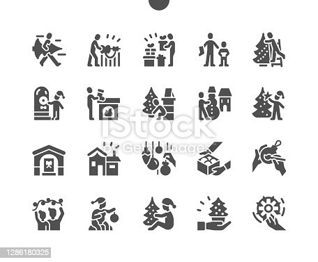 istock Family Christmas home. Decorate christmas house. Happy New Year. Paper snowflake. Family is preparing for the holiday. Vector Solid Icons. Simple Pictogram 1286180325