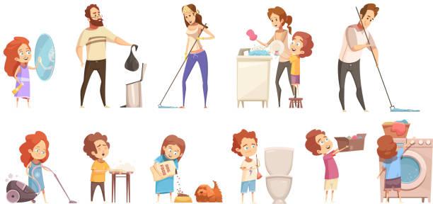 ilustrações de stock, clip art, desenhos animados e ícones de family cleaning set - kitchen counter