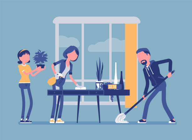 Household chore stock illustrations