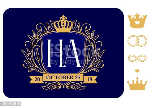 istock Family coat of arms. Wedding emblem with date and initials. Marriage . Design template for invitations royal card. 934101818
