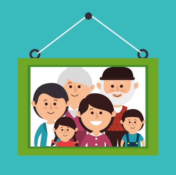 家族のカラフルな漫画 - 家族写真点のイラスト素材/クリップアート素材/マンガ素材/アイコン素材