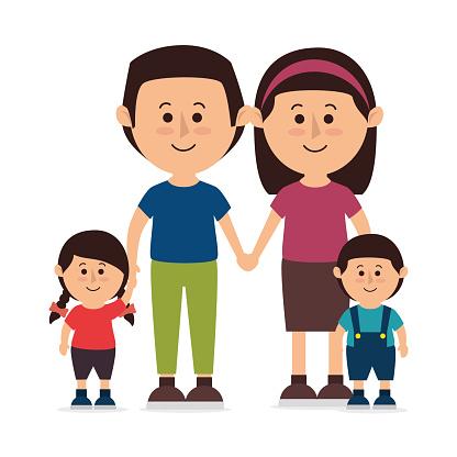 Family colorful cartoon