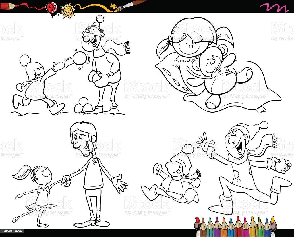 Ilustración De Familia Página Para Colorear De Historieta De Y Más
