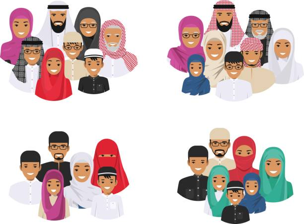 Family concept. Arab people generations at different ages. Muslim father, mother, grandmother, grandfather, son and daughter in traditional islamic clothes. Different man characters avatars icons set. vector art illustration