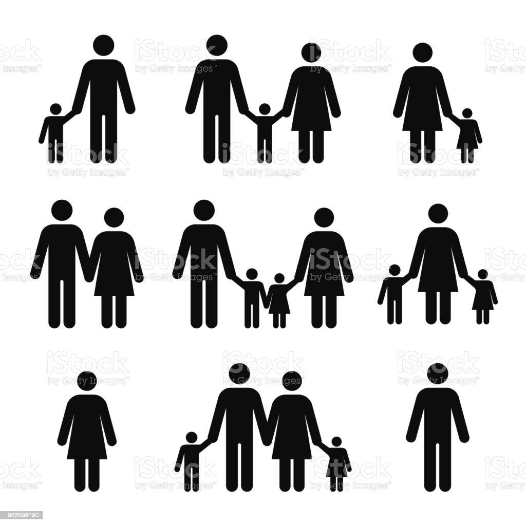 Ilustración De Iconos Del Concepto De Familia Pictogramas De La