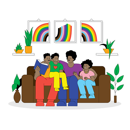 Gay parents and their children enjoying family time. Editable vectors on layers.