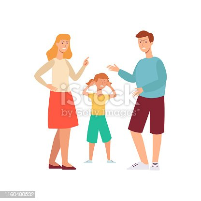 Family conflict - angry people arguing in front of a sad unhappy child. Cartoon character people - mother and father causing stress to crying daughter, flat hand drawn isolated vector illustration