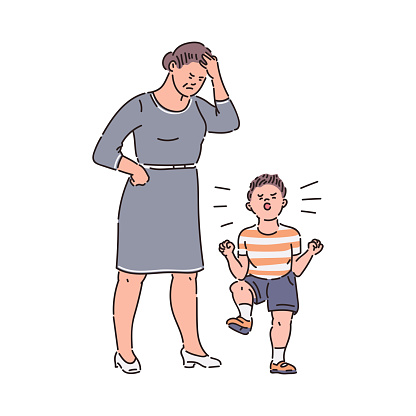 Family conflict - child throwing tantrum at tired mother