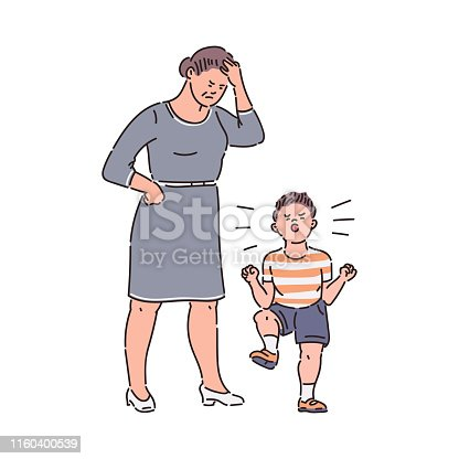 Family conflict - child throwing tantrum at tired mother. Sad parent angry at naughty kid with bad behavior, cartoon sketch style hand drawn vector illustration isolated on white background.
