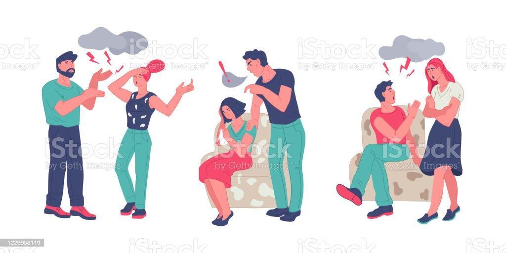 夫婦相性の対立との家族の対立や関係の問題 - イラストレーションの ...