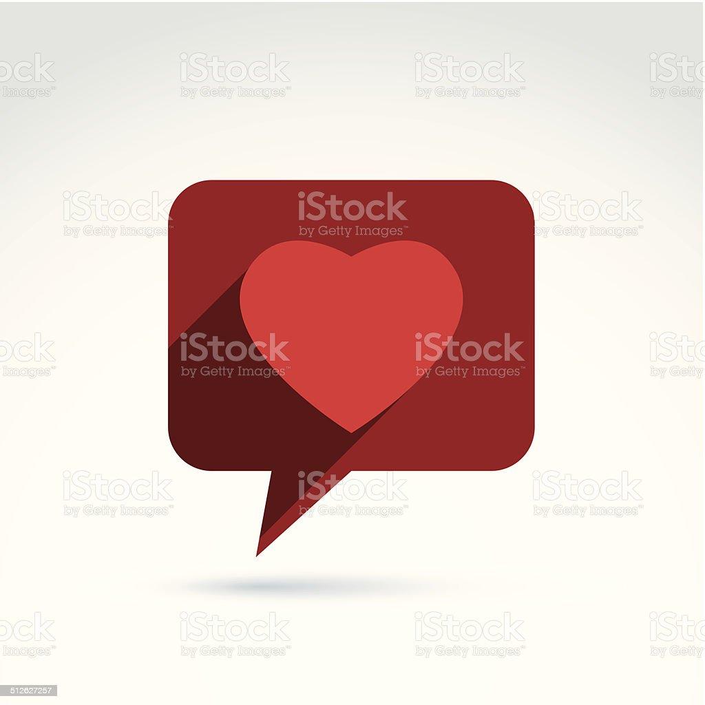 Family consultation symbol, speech bubble with love sign vector art illustration