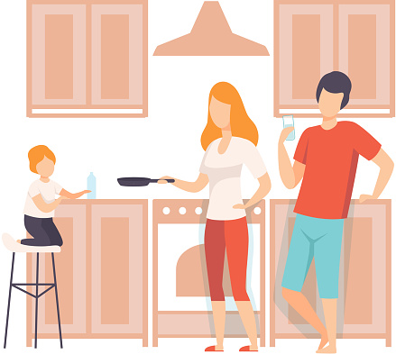 Family Cooking Food In The Kitchen Together, Parents and Their Son in Everyday Life at Home Vector Illustration