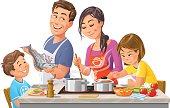 Vector illustration of a happy family is preparing a healthy dinner in the kitchen, isolated on white.