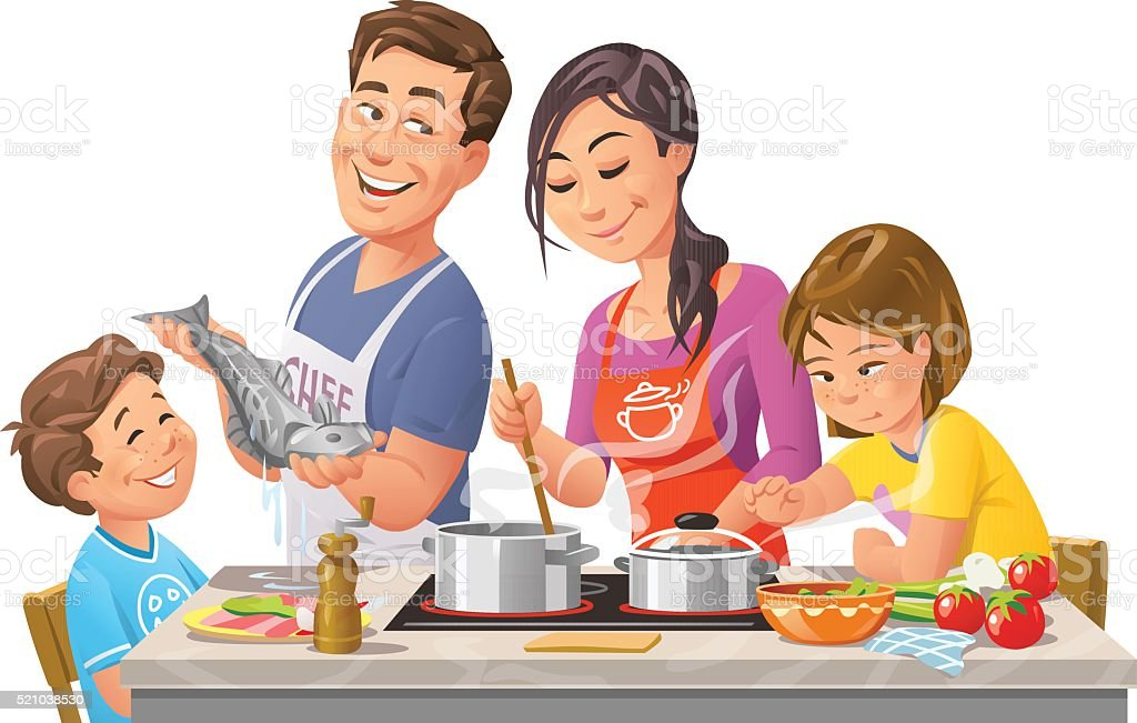 Family Cooking Together vector art illustration