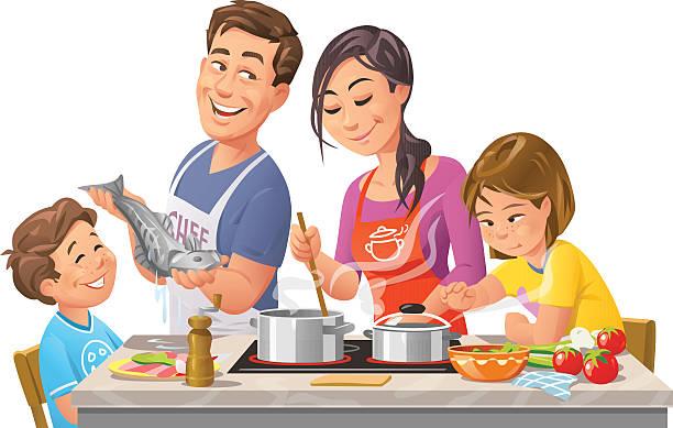 ilustrações de stock, clip art, desenhos animados e ícones de família cozinhar juntos - cooker happy