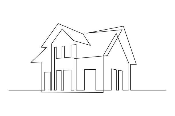 Family cottage Family house in continuous line art drawing style. Suburban home minimalist black linear sketch isolated on white background. Vector illustration architecture illustrations stock illustrations