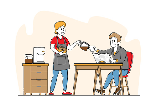 Family Couple Characters Breakfast, Young Man Sitting at Table Woman with Fresh Bakery in Hands Pour Hot Coffee in Cup