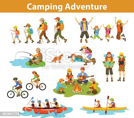 istock Family, couple, children camping, rafting, hiking, sitting at campfire, make photos of animals, kayaking, mountain biking, planning trip looking at map and tablet, jumping, fishing. People tourist travel, outdoor vacation 824841778