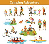 Family, couple, children camping, rafting, hiking, sitting at campfire, make photos of animals, kayaking, mountain biking, planning trip looking at map and tablet, jumping, fishing. People tourist travel, outdoor vacation