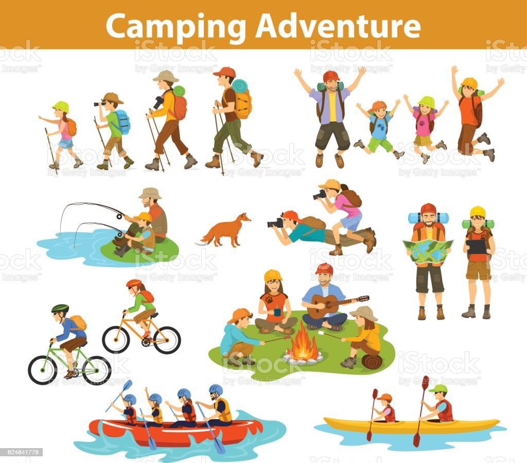 Family, couple, children camping, rafting, hiking, sitting at campfire, make photos of animals, kayaking, mountain biking, planning trip looking at map and tablet, jumping, fishing. People tourist travel, outdoor vacation vector art illustration