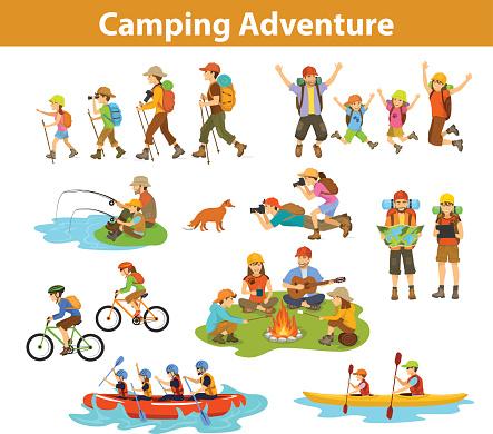 家族カップル子供キャンプラフティングハイキング動物カヤックマウンテン バイク地図とタブレットを見てジャンプ釣り旅行を ...