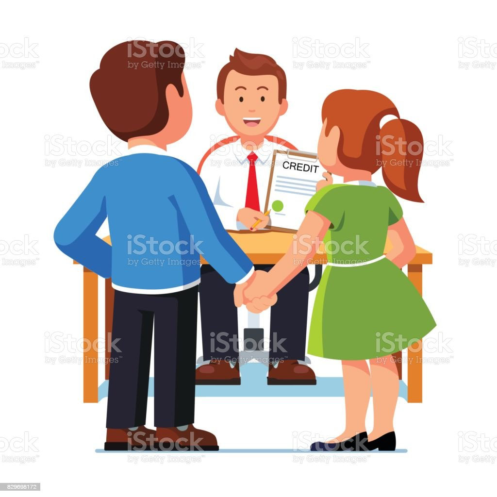 Family couple man and woman taking bank loan vector art illustration