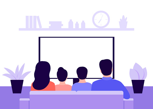 Family couple man, woman and children sitting on sofa at home and watching TV, back view. Living room interior. Rest, recreation, spending time on isolation and quarantine. Vector illustration