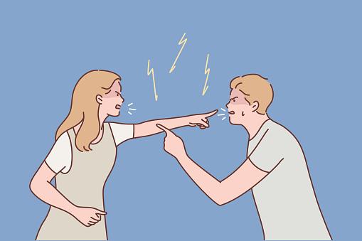 Family, couple, quarrel, divorce, agression, conflict concept