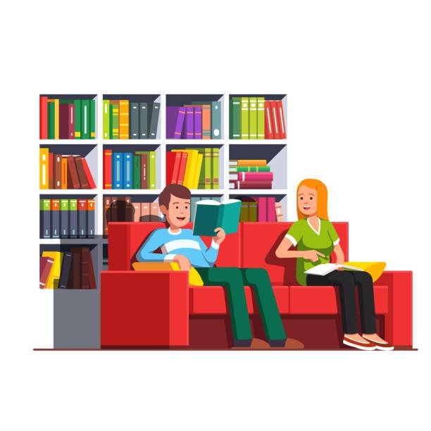 illustrazioni stock, clip art, cartoni animati e icone di tendenza di family couple reading books sitting on couch - compagni scuola