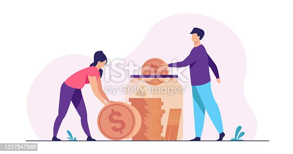 Family couple saving money. Man and woman inserting cash into glass jar. Vector illustration for finance, deposit, economy, investment, banking, concept