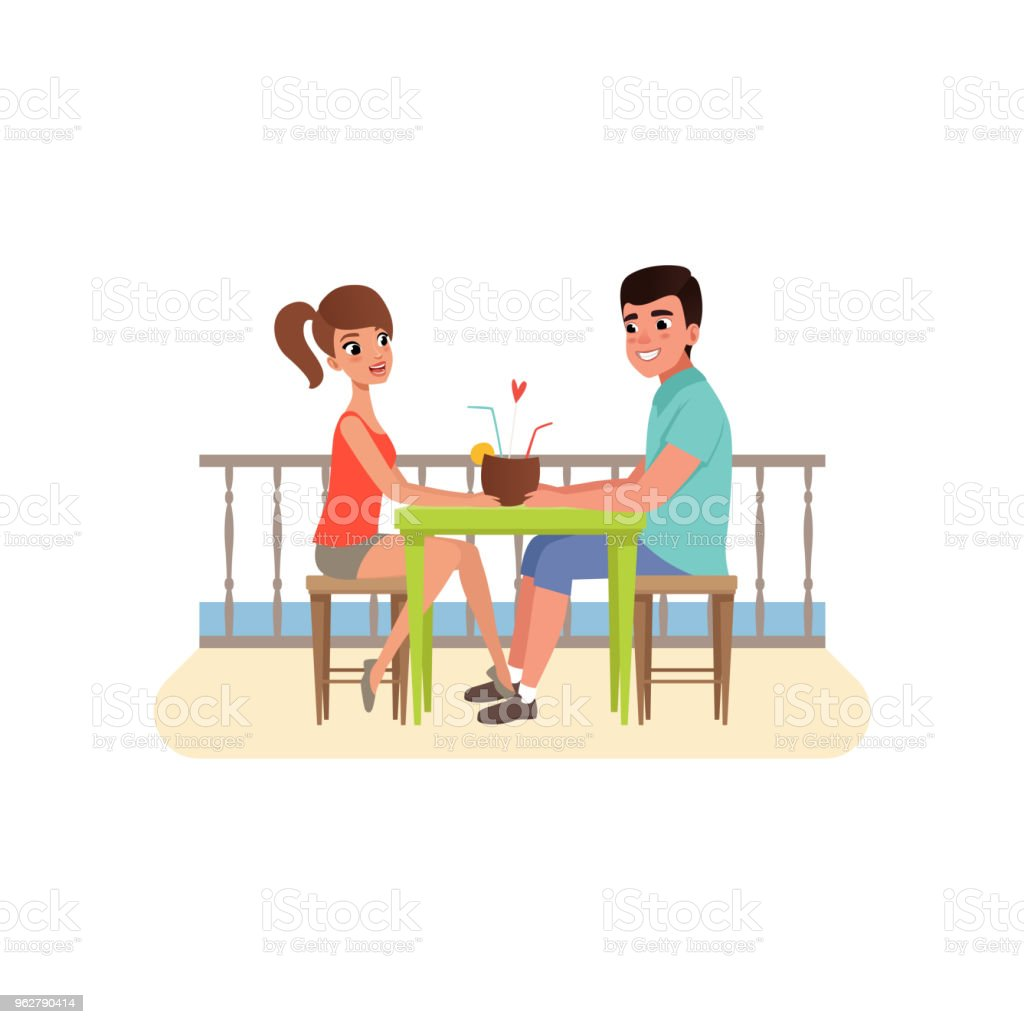 Family couple sitting at the cafe near the beach and drinking cocktail, man and woman on romantic date vector Illustration on a white background - arte vettoriale royalty-free di Acqua